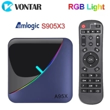 Image 1 - VONTAR A95X F3 RGB Licht TV Box Android 9,0 4GB 64GB 32GB Amlogic S905X3 8K 60fps wifi Media Player A95XF3 X3 2GB16GB TVBOX