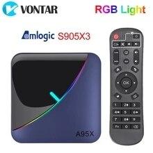 Image 1 - VONTAR A95X F3 światło RGB TV, pudełko z systemem Android 9.0 4GB 64GB 32GB procesor Amlogic S905X3 8K 60fps Wifi odtwarzacz multimedialny A95XF3 X3 2GB16GB TVBOX