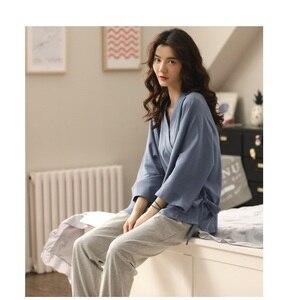 Image 3 - Conjunto de pijama de algodón de estilo Retro Japón para niña y mujer, ropa para el hogar, Kimono informal, ropa para el hogar