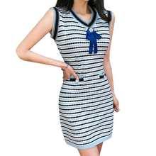 Женское летнее жаккардовое трикотажное платье в полоску уличная