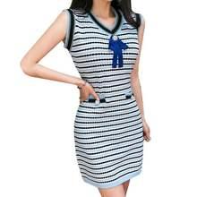 Women Summer Striped Jacquard Knitted Dress Streetwear Sleeveless V Neck Diamonds Bow Sweet Button Decorate Knit Mini Dress button front colorblock striped rib knit dress
