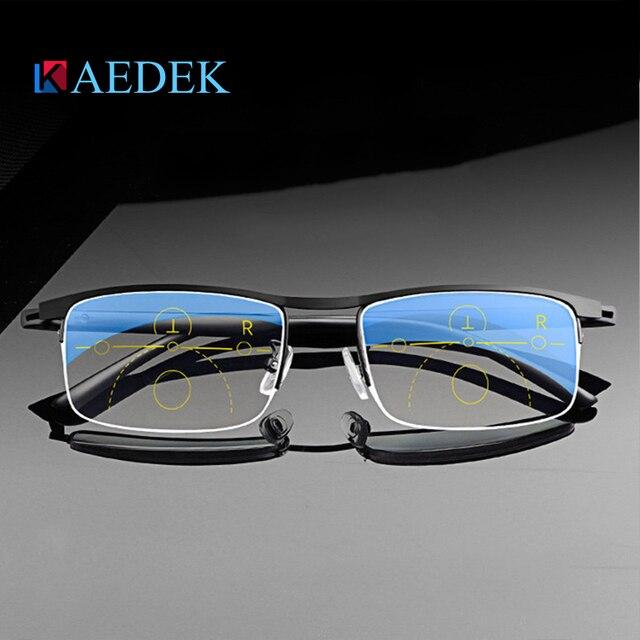 KAEDEK בציר קריאת משקפיים נשים גברים רטרו סגסוגת מרשם משקפי מלבן עסקים רוחק פרסביופיה משקפיים