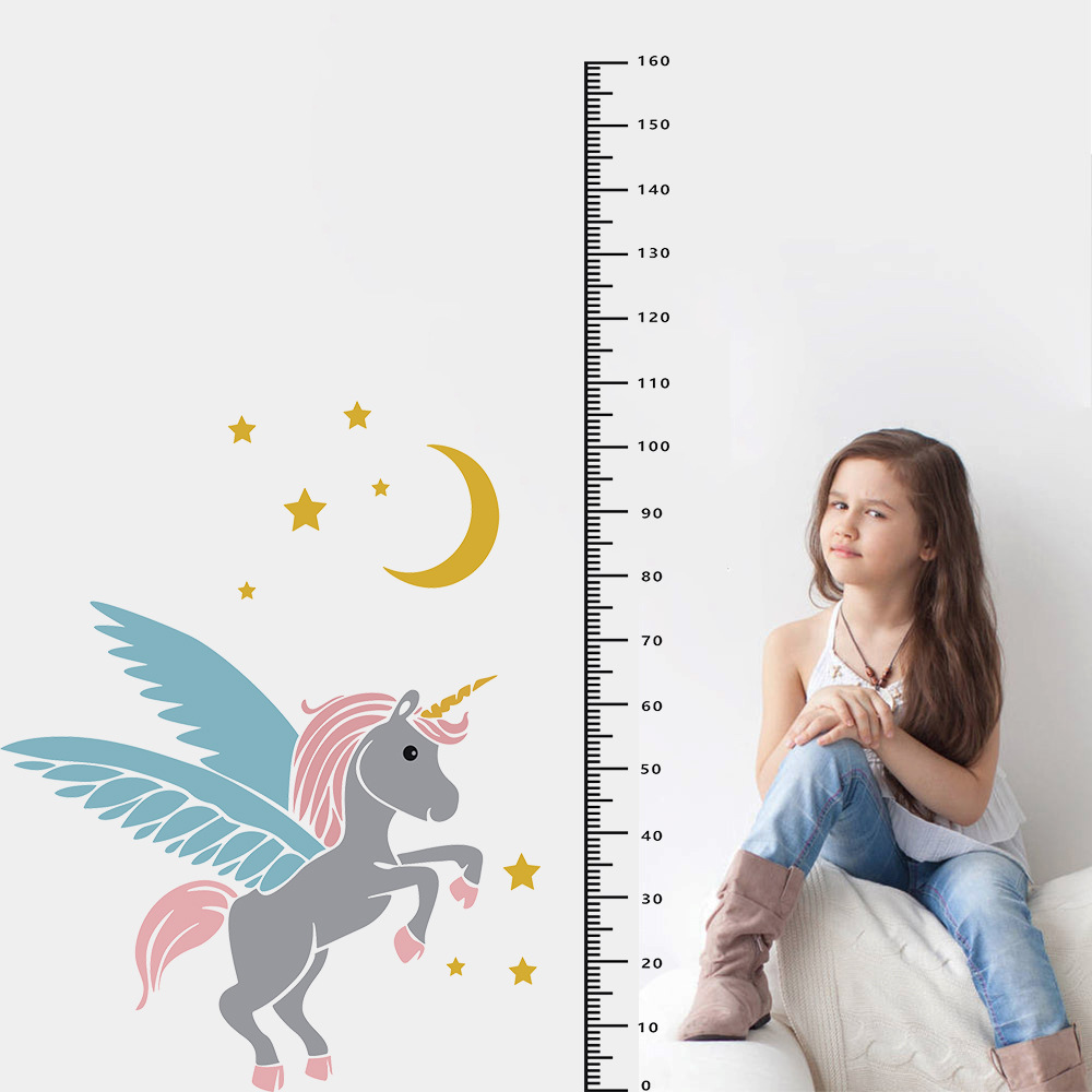 Cute <font><b>Unicorn</b></font> Height Wall Stickers Meter Ruler Kid Room Decal Sticker Baby Growth Chart Mural for <font><b>Bedroom</b></font> House <font><b>Decoration</b></font> image