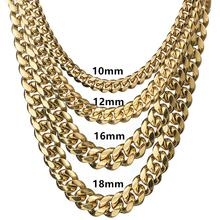 6MM 18MM wide Stainless Steel Cuban Miami Chains Necklaces Big Heavy Round Link Chain for Men Hip Hop Rock jewelry Gift