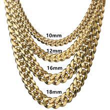 Chaînes en acier inoxydable Miami pour hommes, grande chaîne à maillons ronds, lourde, Hip Hop Rock, bijoux cadeau 6MM 18MM de large