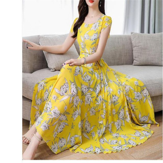 Loose Mid Dress Short Sleeve 3XL Plus Size O Neck summer dress female 2020 new temperament Print beach dresses 1