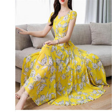 Loose Mid Dress Short Sleeve 3XL Plus Size O Neck summer dress female 2020 new temperament Print beach dresses