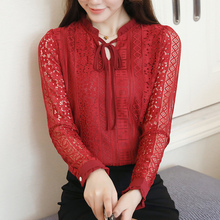 Lace Womens Tops New Hollow Out Bow stand Collar 2019 Autumn Long-Sleeved Camisas Mujer Women shirt 819i7