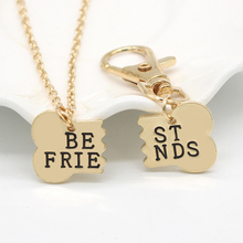 Pendant Necklace Keychain Jewelry Rhinestone Fashion Golden 2pieces/Set And BFF Gifts
