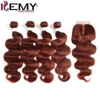 4 sztuk pasmo ludzkich włosów z zamknięciem brązowy Auburn brazylijski ciało fala ludzkie włosy splot wiązki 100% nie doczepy z włosów typu remy KEMY