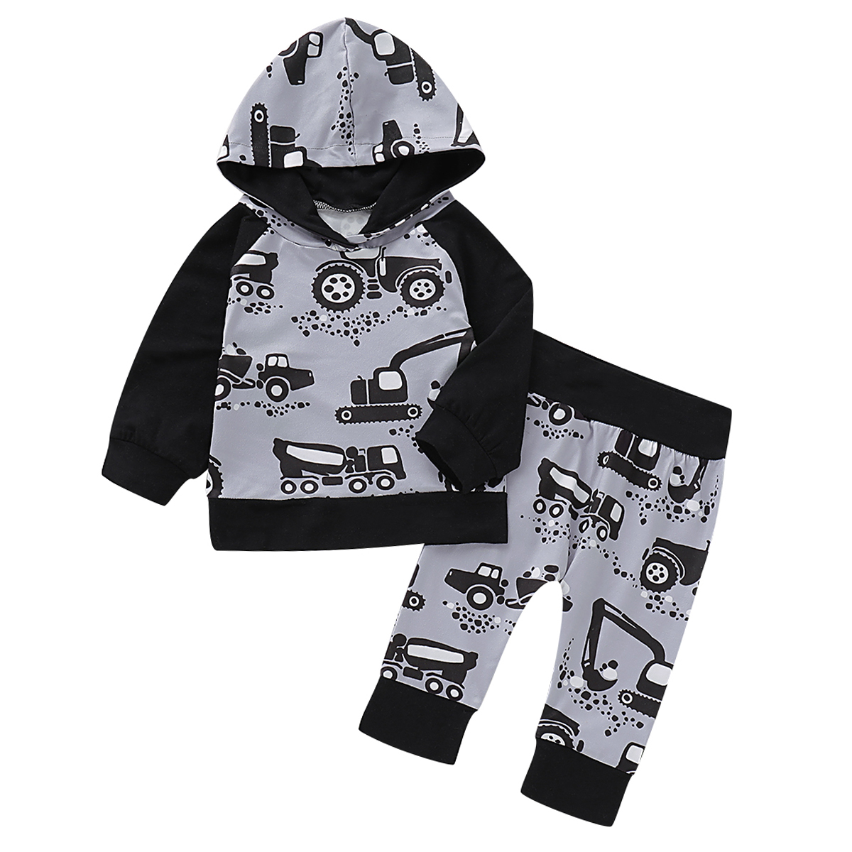 2019 Baby Autumn Winter Clothing Tractor print Newborn Infant Kids Boy Girl Clothes Sets Cartoon Hooded T-shirt Top+Pant Outfits