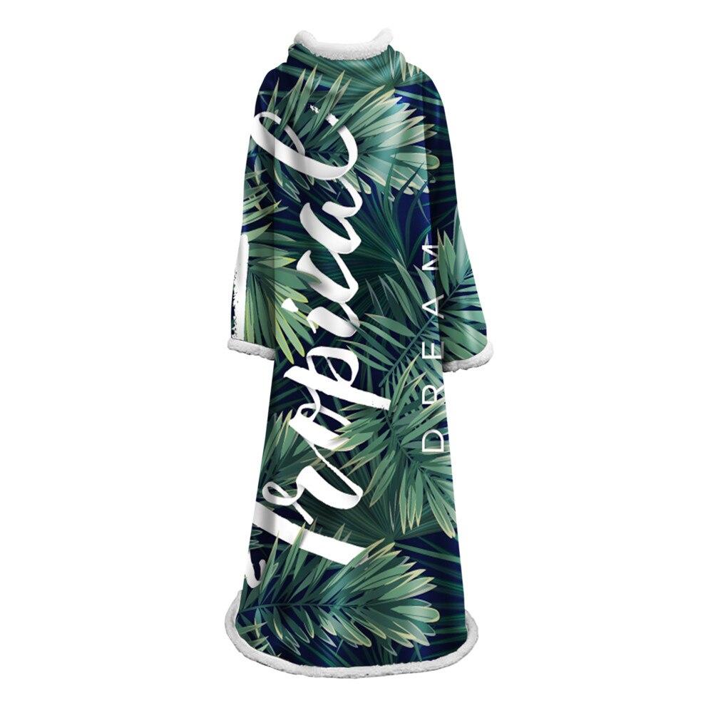 3D feuilles couverture de manche Sherpa polaire portable en peluche jeter couverture sur lit canapé épais chaud avec manche