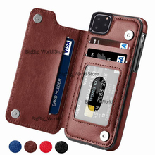 Retro PU skórzane etui do iPhone 11 Pro X Xr XS max 6 pokrywa gniazda karty do Samsung S10E S8 S9 S10 Plus S7 krawędzi uwaga 8 9 powrót Capa