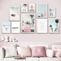 De playa de Surf Van pared arte Palma árboles imágenes rosa Flamingo póster de tortuga lienzo impreso pintura decoración para sala de estar
