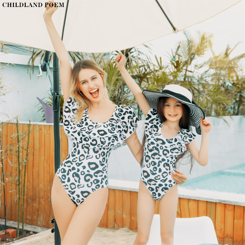 Mother And Daughter Swimsuit 2020 Ruffle Leopard Mom Daughter Swimwear Family Look Mommy And Me Bikini Family Matching Clothes