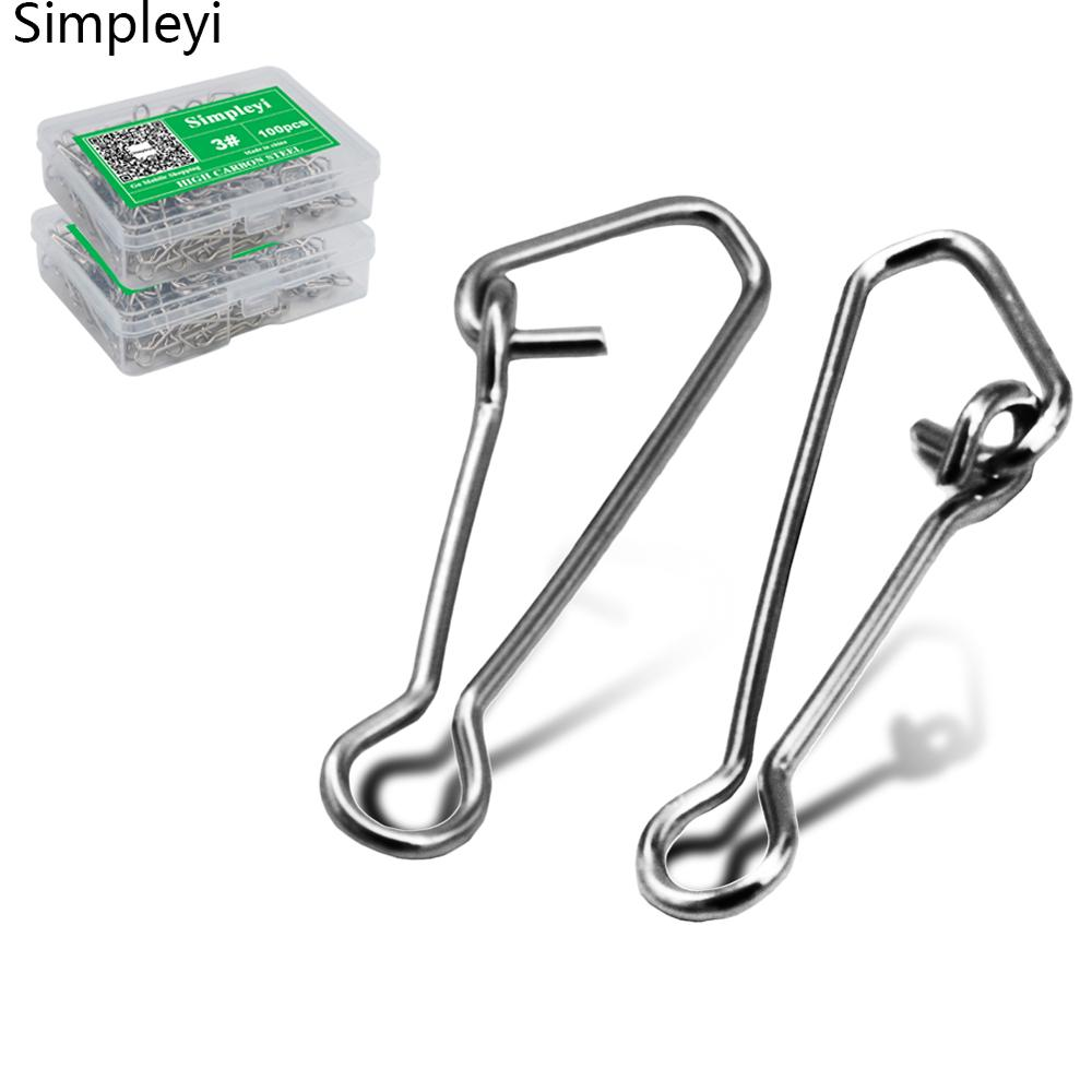 50/100pcs/box Sea Snap Hooks For Fishing Stainless Steel Fishing Swivels Fishing Hook Line Connector 00/0/1/2/3/4# Snap Clips
