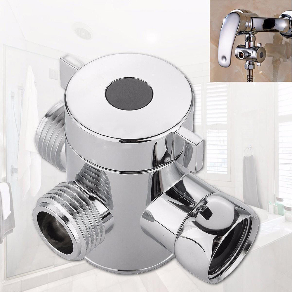 1/2 Inch ABS Chrome 3 Way Diverter Hose Fitting Tee T Shape Adapter Connector for Angle Valve Hose Bath Shower Arm Toilet Douche