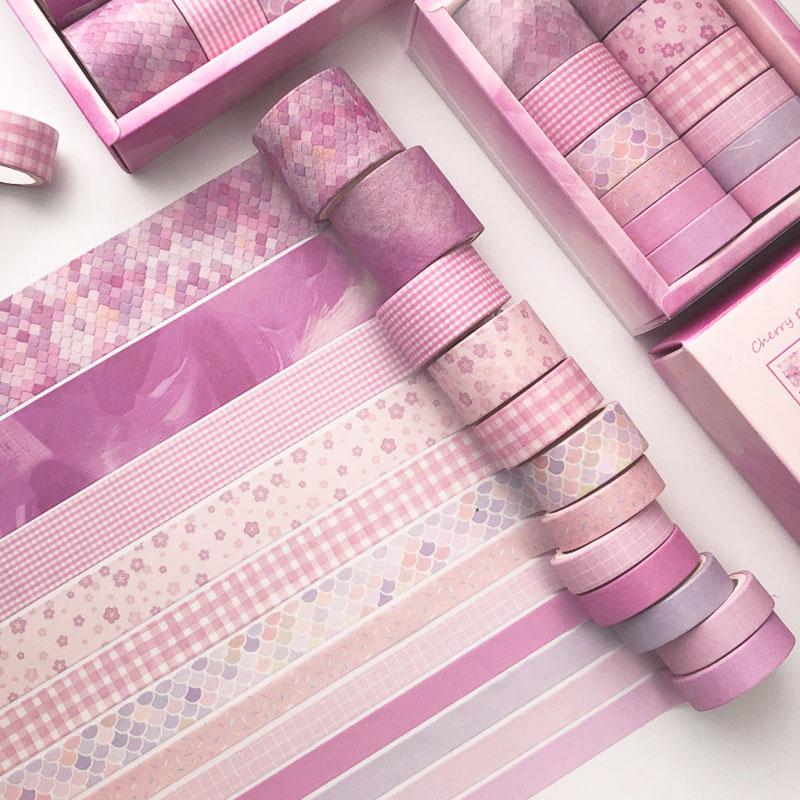 12 unids/caja conjunto de cintas Washi DIY cinta adhesiva pegatinas escuela proveedores papelería regalo presentó artesanía