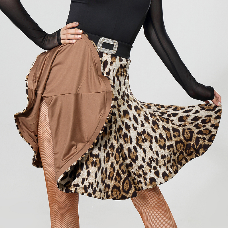 Latin Dance Two Sides Wearing Skirt New Dance Clothes Women Leopard&Black Dancing Skirt Rumba Salsa Dance Costume Latin BL2850