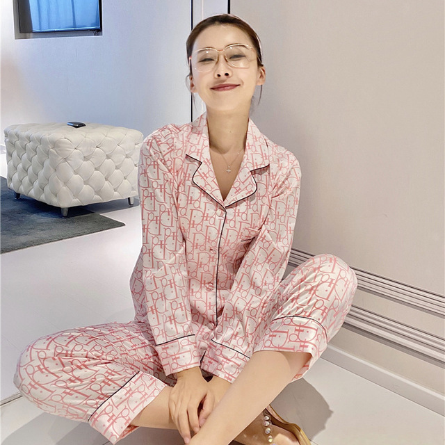 Pajama women's ice snow silk summer long sleeved trousers home clothes high grade silk cardigan pajamas|Pajama Sets| - AliExpress
