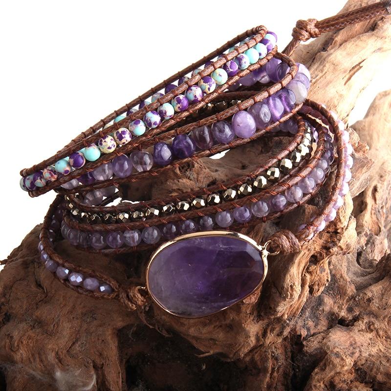 RH Fashion Handma Bohemian Jewelry Boho Bracelet Mixed Natural Stones Charm 5 Strands Wrap Bracelets Gift DropShipping(China)