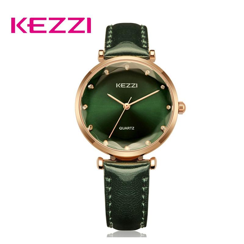 KEZZI Для женщин Роскошные Стразы часы простые кварцевые Wristwwatch 2019 брендовые водонепроницаемые сверхтонкие часы с кожаным ремешком Relogio femino