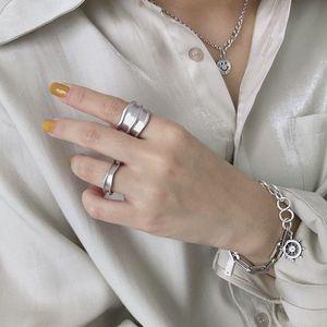 Image 3 - Silvology 925 Esterlina Anéis de Prata Irregular Ampla Matéria Indústria Artesanal Textura Estilo Anéis para As Mulheres Novo 925 Jóias de Prata