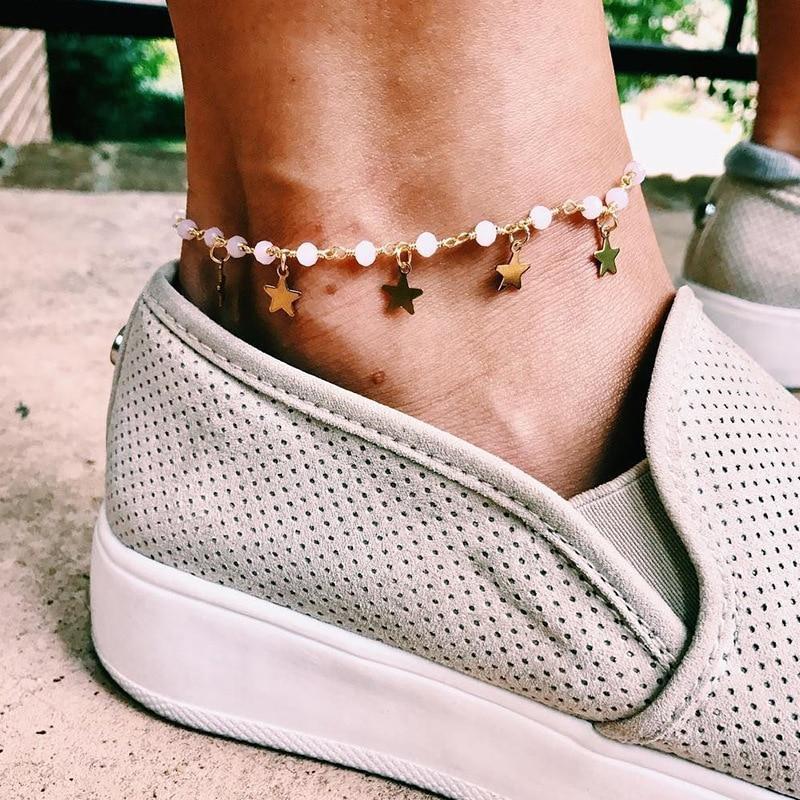 Beach Accessories Pearl Ankle Bracelet For Women Boho Jewelry Star Anklet Chaine Cheville Femme Leg Bracelet Anklets