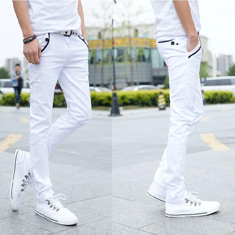 Summer Men White Jeans Men's Slim Fit Korean-style Tight-Fit Skinny Pants BOY'S Elasticity Slimming Casual Long Pants