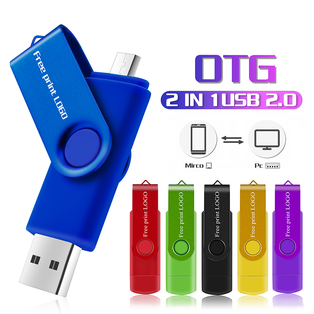 Pendrive Metal Pen Drive Micro Usb Flash Drive OTG SmartPhone Flash Usb Stick 2.0 4GB 8GB 16GB 32GB 64GB 128GB Free Print LOGO