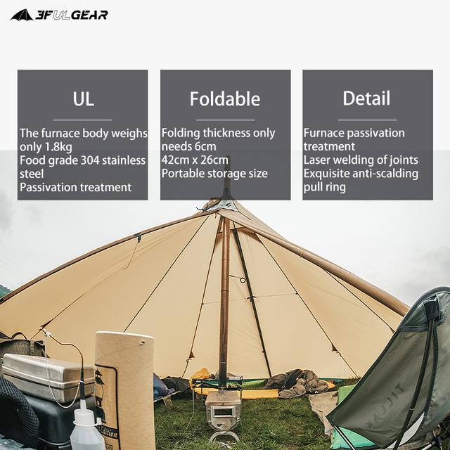3F UL GEAR 304 Stainless heating stove wood stove Hot tent 6