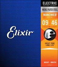 Elixir Strings 12027 Electric Guitar Strings w NANOWEB Coating, Custom Light (.009 .046)