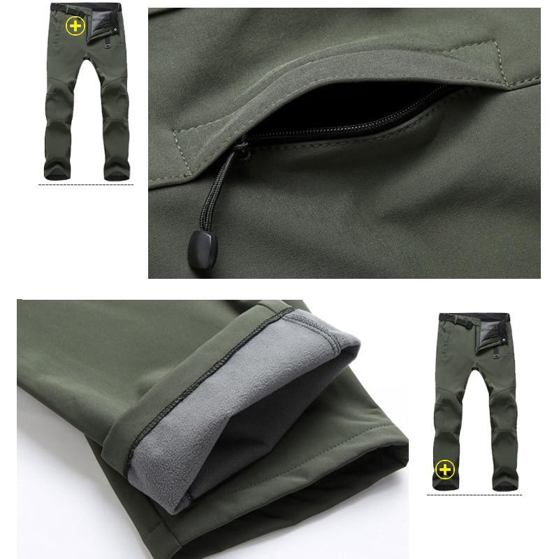 TRVLWEGO Warm Winter Men Soft Shell Pants Travel Waterproof Outdoor Camping Hiking Pants Fleece Windproof Skiing