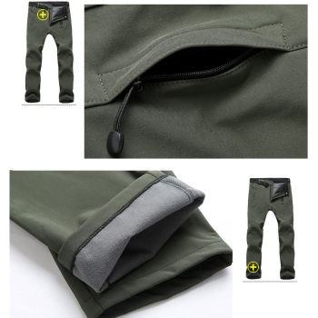 TRVLWEGO Warm Winter Men Soft Shell Pants Travel Waterproof Outdoor Camping Hiking Pants Fleece Windproof