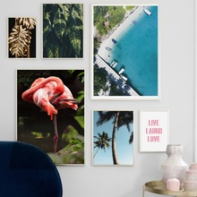 Blue Beach Flamingo Coconut Tree Landscape Wall Art Canvas Painting Nordic Posters And Prints Wall Pictures For Living Room coconut palm tree beach wall art canvas painting nordic landscape posters and prints wall pictures for living room unframed