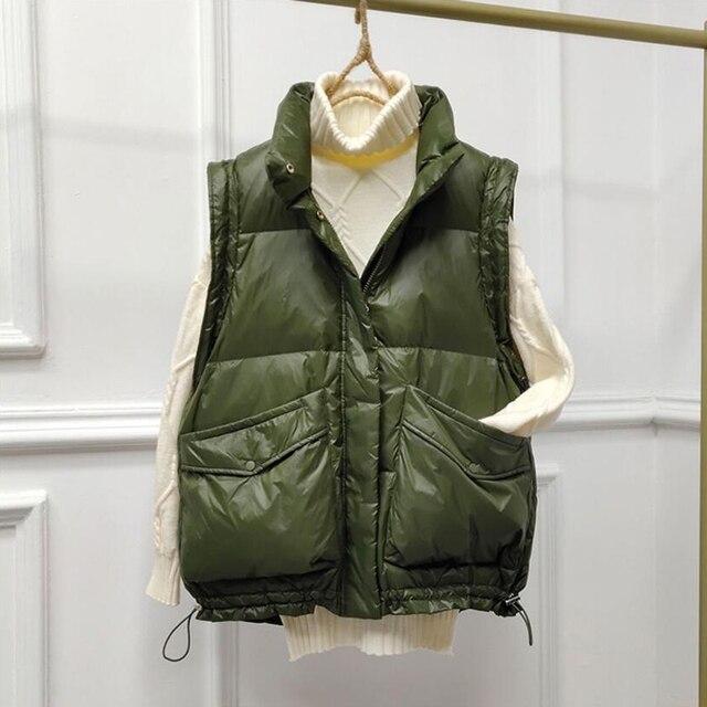 SEDUTMO 2020 Winter Duck Down Vest Women Ultra Light Oversize Waistcoat Autumn Casual  Short Pocket Jacket Slim Parkas ED1317 2
