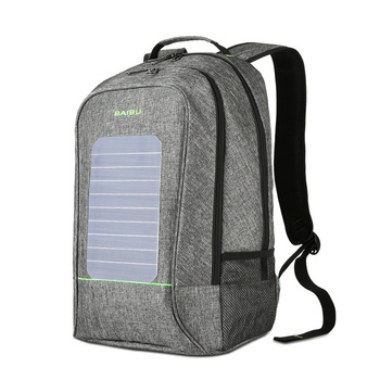 Solar Rechargeable Backpack Laptop Computer Bag Leisure Travel Student Bag Waterproof Solar Backpack USB Charging 1