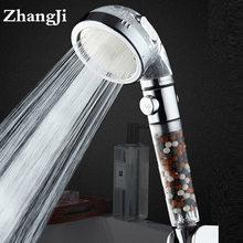 Zhangji chuveiro de alta pressão, chuveiro de 3 modos de pulverização com interruptor de parada e filtro de água de alta pressão, bico luxuoso de spray abs anion