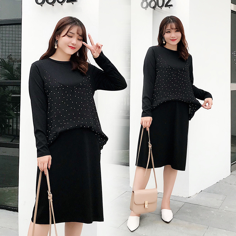 2018 New Style Large Size WOMEN'S Two-piece Suit Dress Fat Mm Cover Belly Tibetan Meat Straight-Cut Long-sleeved Dress 731