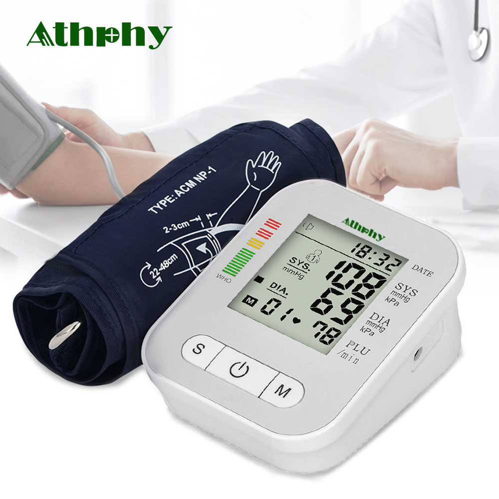 Athphy Blood Pressure Monitor Full-automatic Pulse Measurement Heartbeat Test New Upper Arm Measure Sphygmomanometer Tonometer