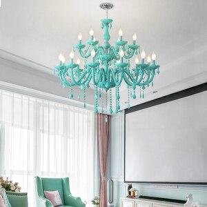 Image 3 - Modern Crystal led chandelier for living room Bedroom Kitchen light Fixtures lustre de cristal teto Green Color glass chandelier