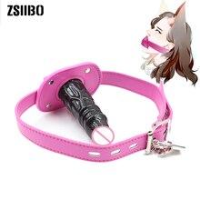 цены Sex Toys For Women Silicone Plug Penis Gag Oral Dildo Gag Bdsm Fetish Mouth Plug Leather Erotic Toys Sex Bondage For Couple