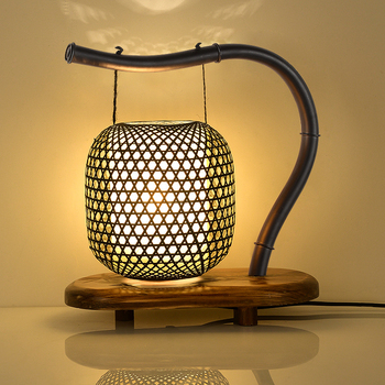 Modern new Chinese style bamboo table light vintage classic desk lamp for living room bedroom bedside office study hotel