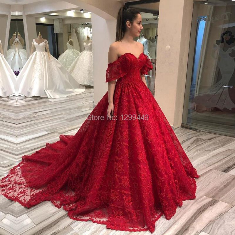 Red Prom Dress off the Shoulder Lace Ball Gown Evening Party Dresses for Wedding 2020 Formal Graduation Gown Vestido De Festa