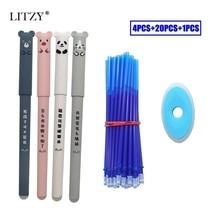 25 шт./лот, набор стираемых ручек с милыми животными, моющаяся ручка, 0,35 мм, синие чернила, стираемые стержни, шариковая ручка для школы, канцелярские принадлежности