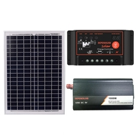 AAAE Top 18V20W Solar Panel +12V Controller + 1000W Inverter Dc12V Ac230V Solar Power Generation Kit, For Outdoor And Home