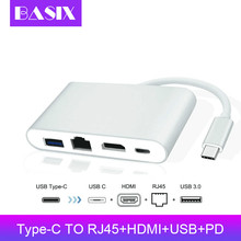 Basix Usb C Ethernet в HDMI 4K+ Gigabit Ethernet(RJ45 порт)+ USB 3,0 type C концентратор адаптер USB-C сплиттер для Macbook pro huawei p20