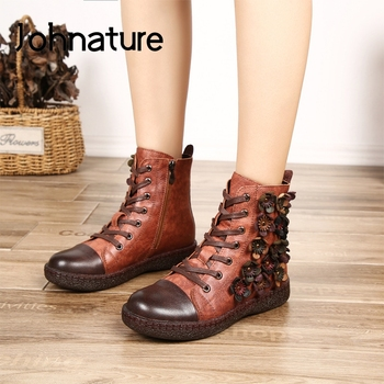 Johnature Platform Boots Zip Women Shoes New Winter Round Toe Genuine Leather Flat With Floral Cross-tied Handmade Ankle Boots
