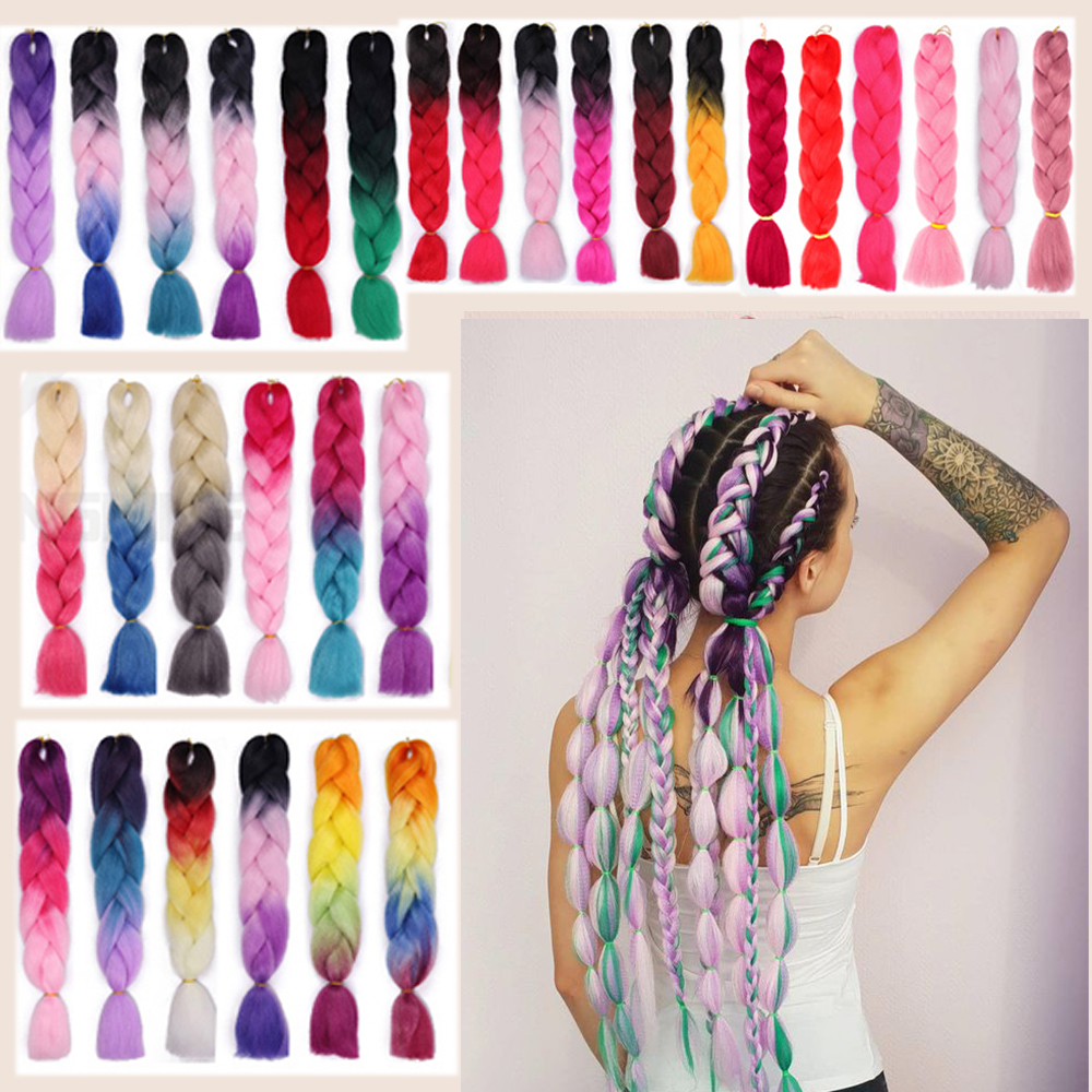 24 Inch Jumbo Synthetic Braid Hair Extensions For Crochet Braiding Hair  Extensions Ombre Two Tone Color Colored Hair Wicks