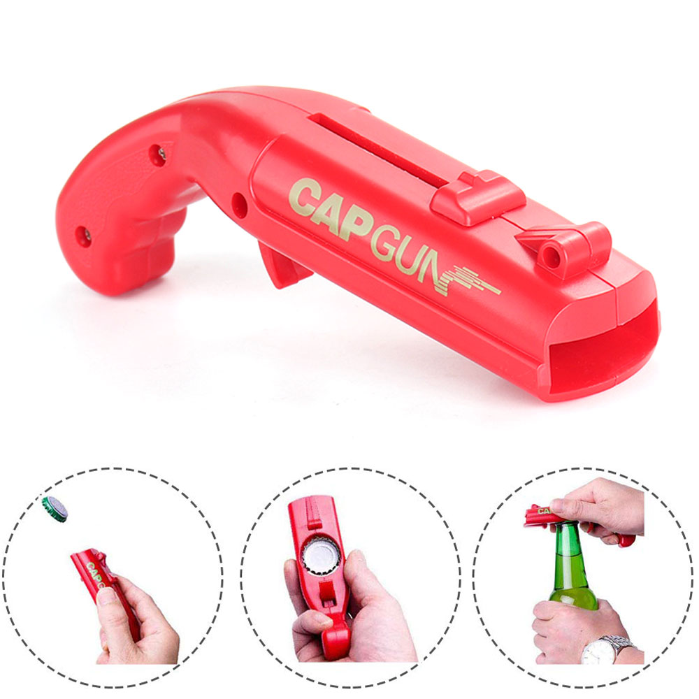 Portable Cap Gun Creative Flying Cap Launcher Bottle Beer Opener Bar Tool Drink Opening Gun Shaped Bottle Lids Shooter Red Gray